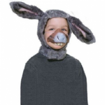 DONKEY SET WITH HOOD AND NOSE CHILDRENS FANCY DRESS COSTUME ACCESSORY